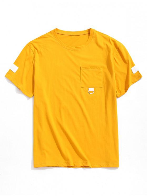 new Letter Graphic Print Chest Pocket T-shirt - YELLOW L