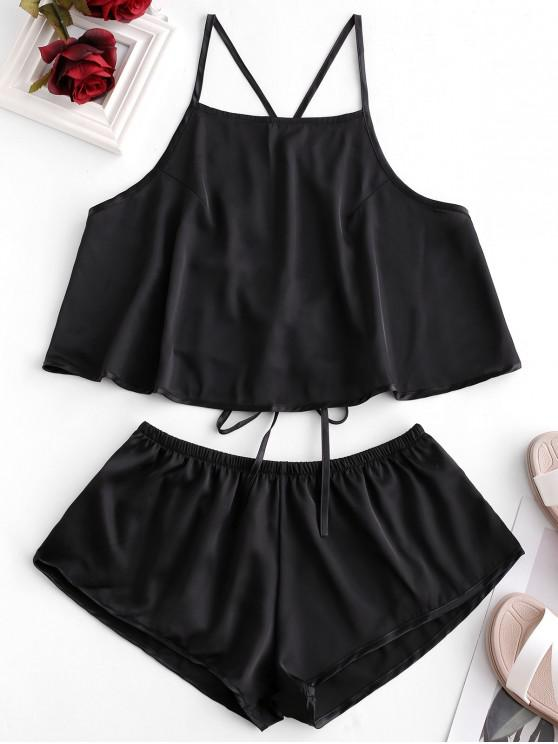 sale Criss Cross Backless Satin Pajama Shorts Set - BLACK ONE SIZE