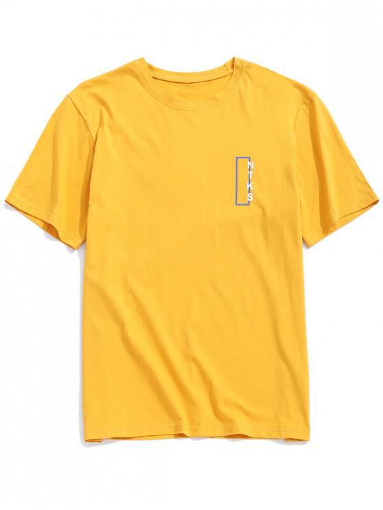 trendy Color Block Geometric Print Graphic T-shirt - YELLOW L