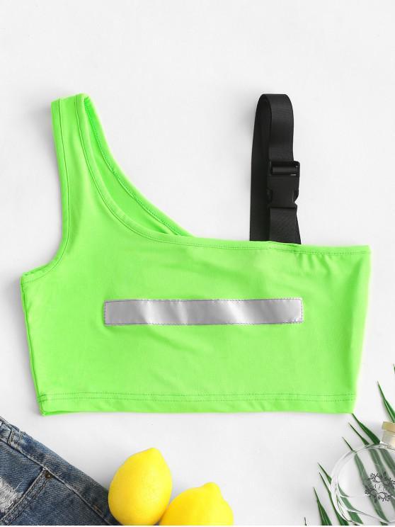 fashion Buckle Straps Neon Tank Top - GREEN M