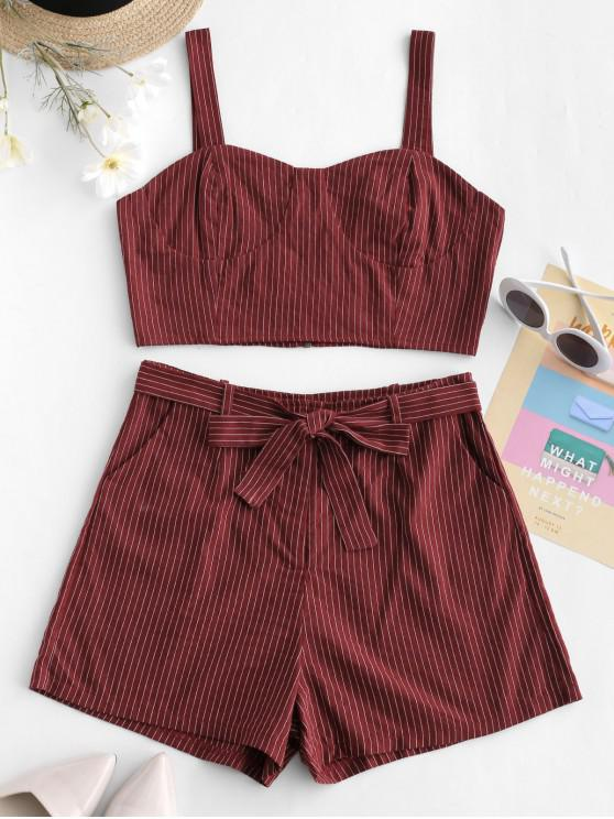 ladies ZAFUL Stripes Top And Belted Shorts Set - CHESTNUT RED M