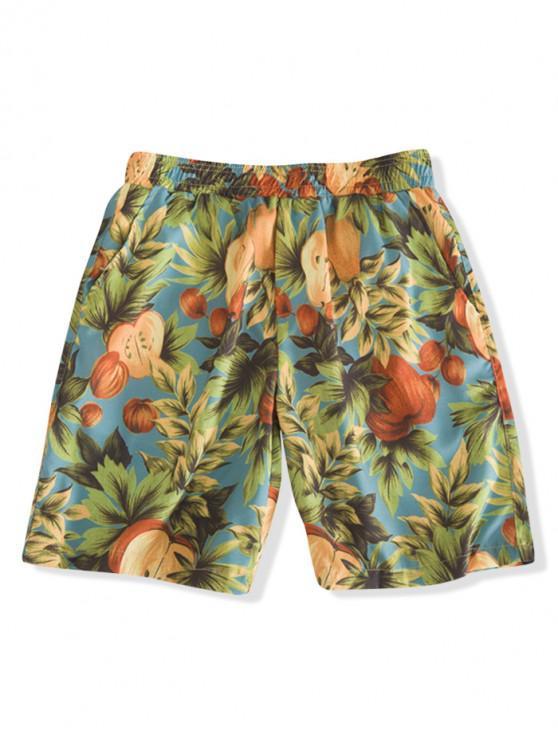 women's Fruit Plant Print Board Shorts - MULTI-A M