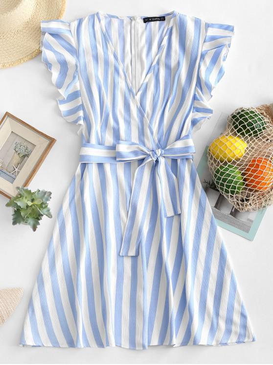 latest ZAFUL Striped Surplice Ruffled Belted Dress - BLUE L