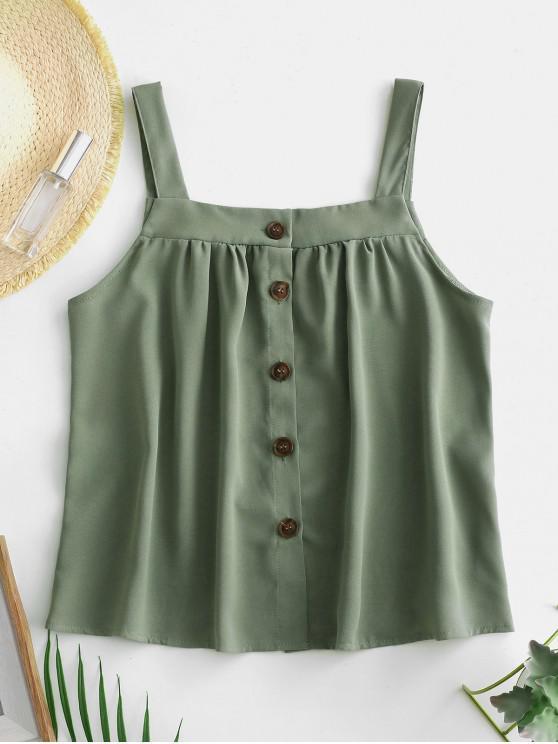Button Up camiseta sin mangas de color sólido - Verde Oscuro de Mar M