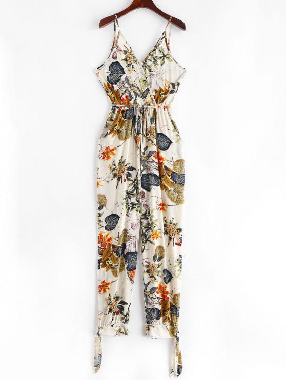 affordable Split Knotted Floral Leaves Jogger Jumpsuit - WARM WHITE M