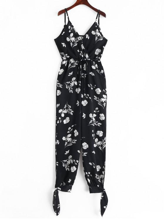 women's Split Knotted Floral Leaves Jogger Jumpsuit - BLACK 2XL