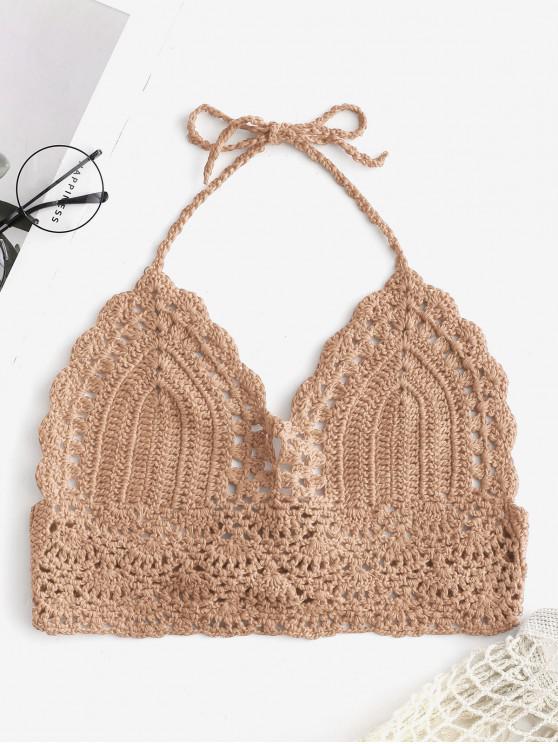 Haut de Bikini Festonné au Crochet à Col Halter - Marron Camel Taille Unique