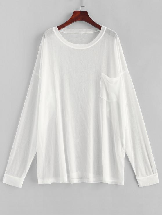new Pocket Drop Shoulder Longline Cover Up Top - WHITE ONE SIZE