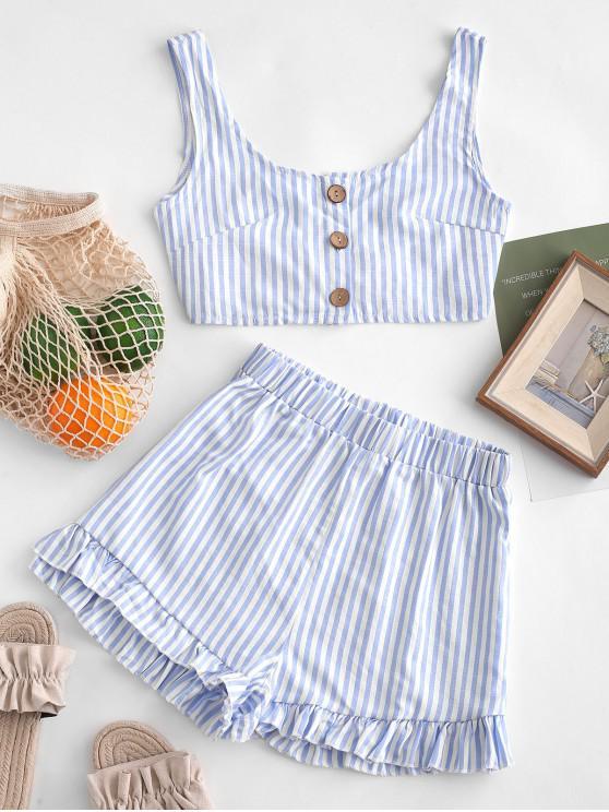 hot Buttoned Crop Top and Ruffles Shorts Set - DENIM BLUE S