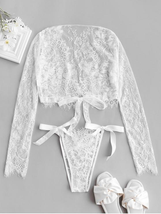 best Long Sleeve Lace Tie Hem Lingerie Set - WHITE ONE SIZE