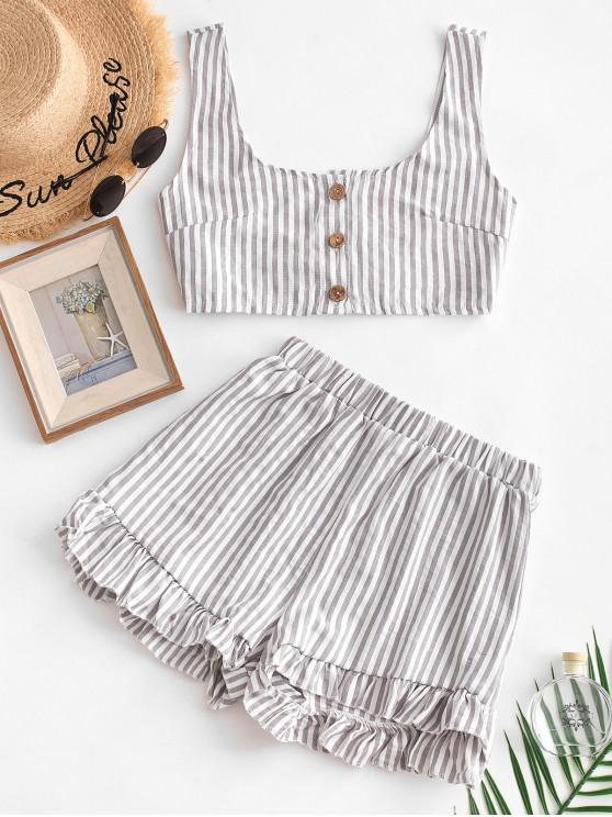 shops Buttoned Crop Top and Ruffles Shorts Set - GRAY L