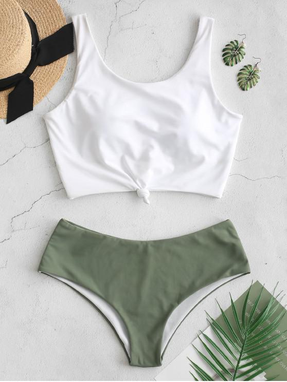 Hot Salezaful Knotted Color Block Tankini Set   Dark Sea Green L by Zaful