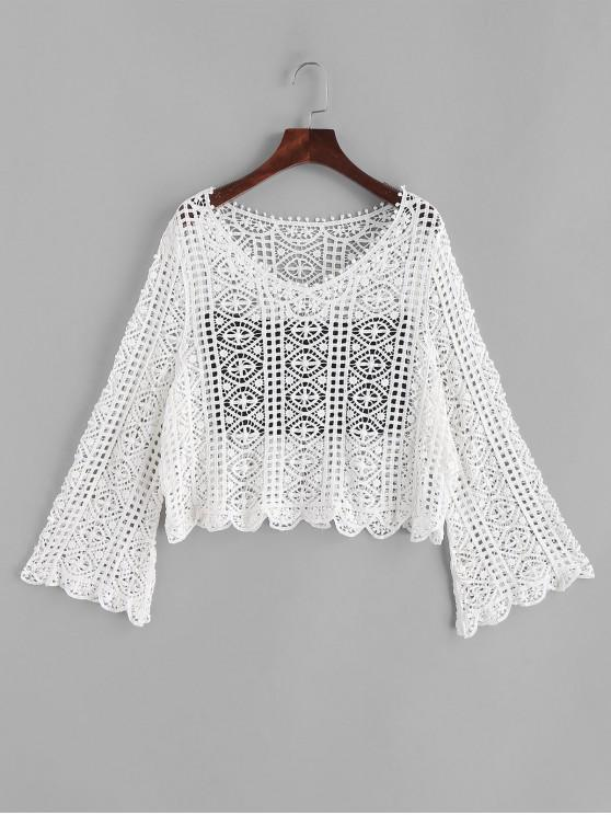 ladies Flare Sleeve Crochet V Neck Cover Up Top - WHITE ONE SIZE