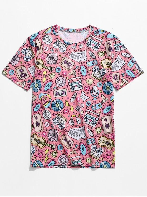 Music Elements Graphic Print T-shirt - Rosado XL