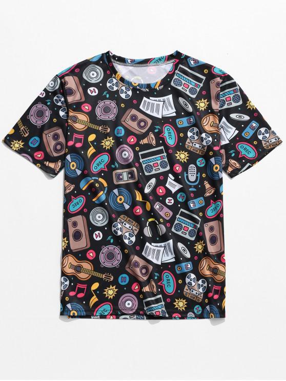 T-Shirt à Imprimé Graphique Motif Eléments de Musique - Noir 2XL