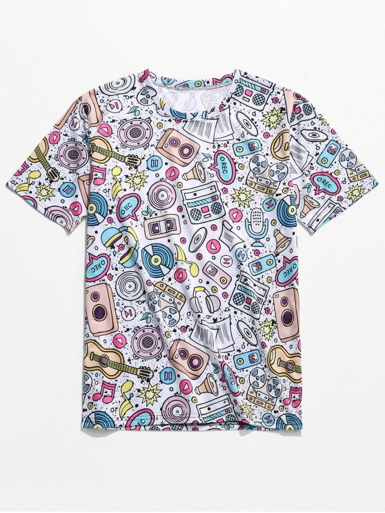 affordable Music Elements Graphic Print T-shirt - WHITE 4XL