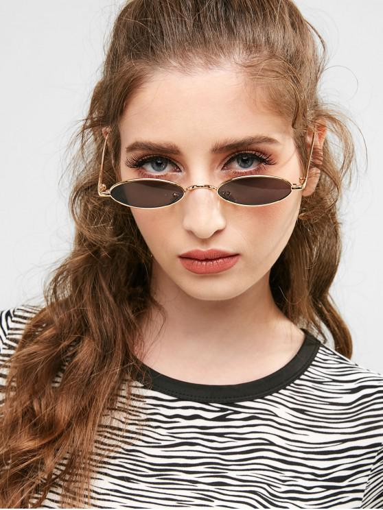 online Unique Metal Full Frame Oval Sunglasses - GOLDEN+GREY