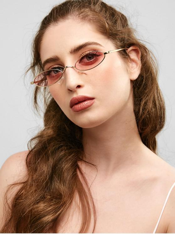 Gafas de sol ovales de marco completo de metal único - Rosa Claro