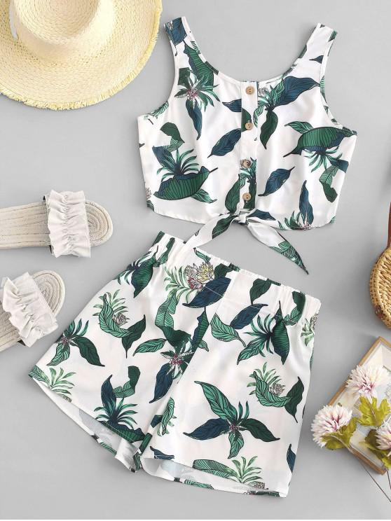trendy ZAFUL Leaf Knotted Buttoned Two Piece Shorts Set - WHITE M