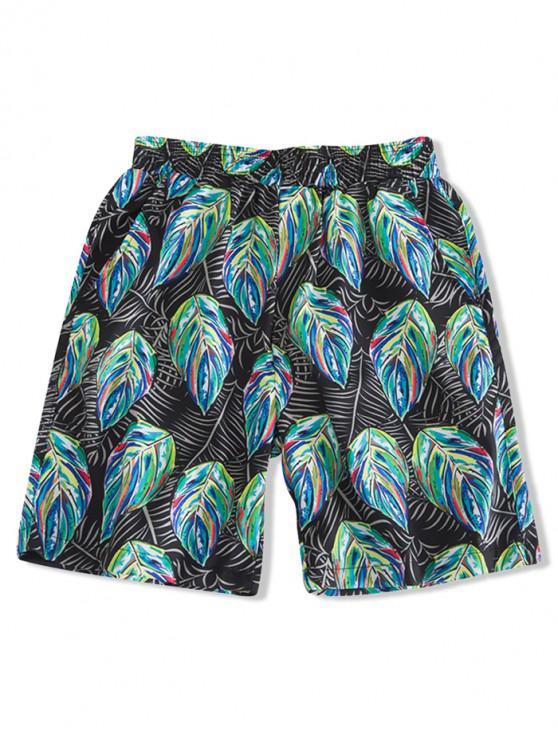 Pantaloncini colorati con stampa a foglia colorata - Nero M