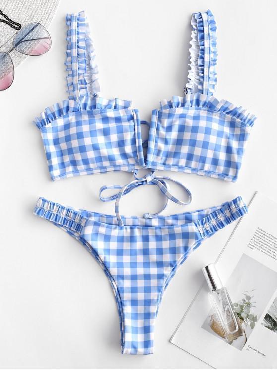 new ZAFUL Plaid Ruffle Lace Up Bikini Set - MULTI-A S