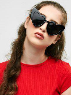 Heart Shape Sunglasses - Bright Black+grey