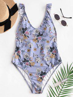 ZAFUL Flower Ruffle Backless Swimsuit - Blu Grigio Xl