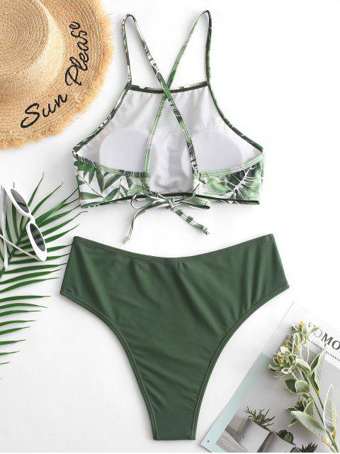 women's ZAFUL High Cut Leaf Cross Back Tankini Swimsuit - CAMOUFLAGE GREEN S Mobile