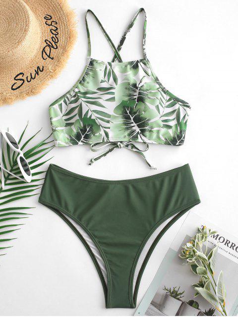 ZAFUL Costume da bagno Tankini con retro a taglio vivo e incrociato - Verde Camouflage  XL Mobile