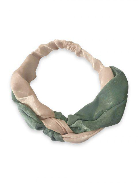 new Color Block Knot Elastic Headband - BLUE HOSTA  Mobile