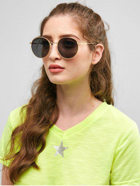 Óculos de sol redondos retro do quadro do metal - Preto  Mobile