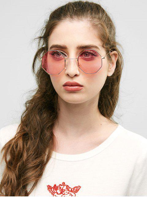 Óculos de Sol Geométrico com Armação Metálica - Luz rosa  Mobile