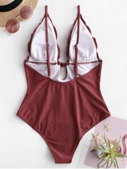 ZAFUL Ruffle Cami Backless Swimsuit - Castaño Rojo M Mobile