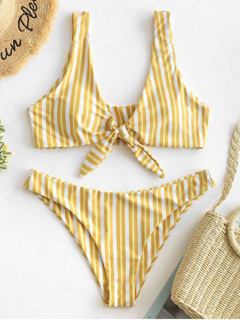 outfit ZAFUL Knotted Striped Tank Bikini Set - GOLDENROD S Mobile