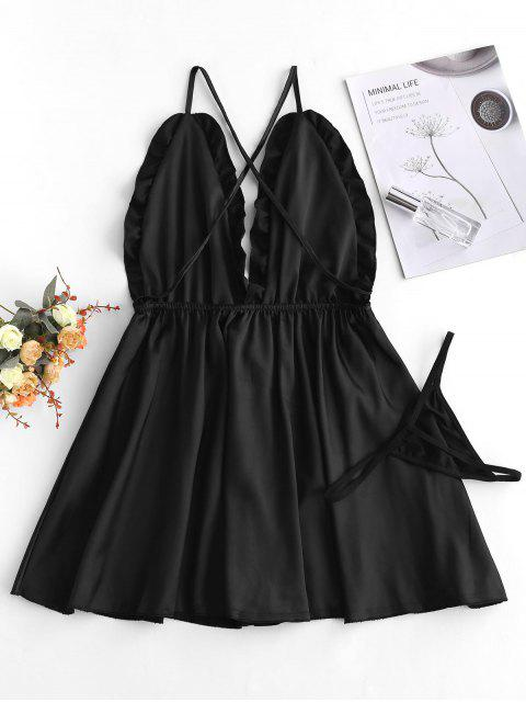 fashion Criss Cross Ruffle Backless Lingerie Babydoll - BLACK ONE SIZE Mobile