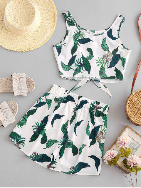 unique ZAFUL Leaf Knotted Buttoned Two Piece Shorts Set - WHITE S Mobile