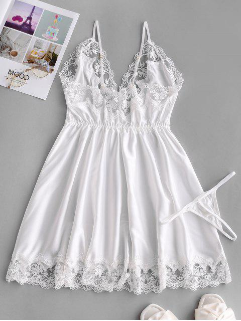 lady Lace Insert Satin Babydoll - WHITE ONE SIZE Mobile