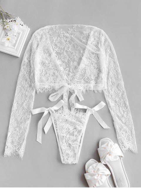 best Long Sleeve Lace Tie Hem Lingerie Set - WHITE ONE SIZE Mobile