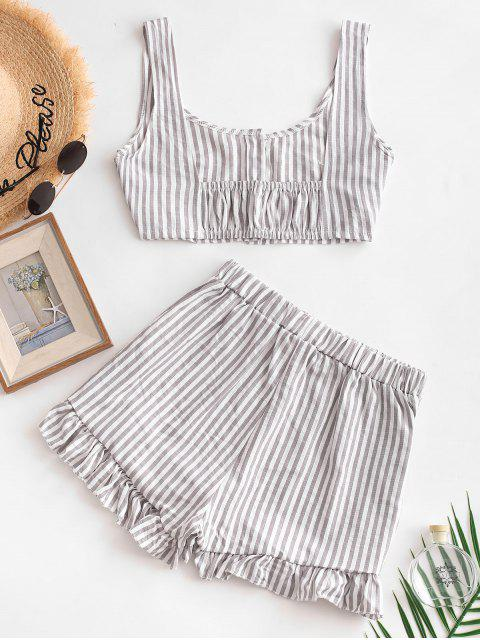 lady Buttoned Crop Top and Ruffles Shorts Set - GRAY M Mobile