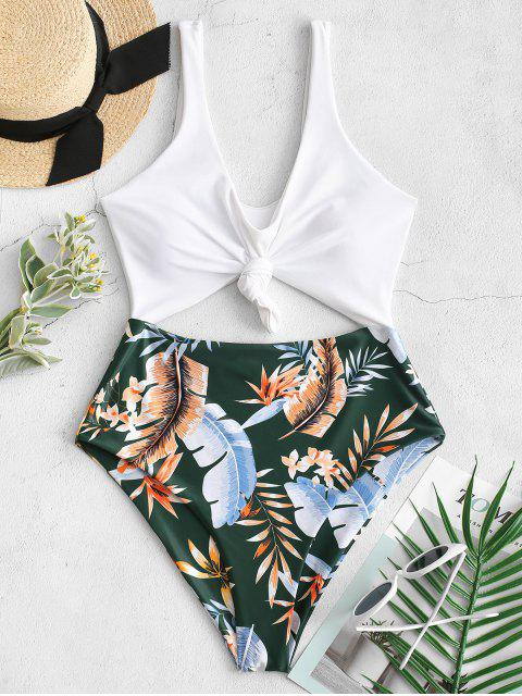 outfits ZAFUL High Cut Contrast Knotted Leaf Swimsuit - MEDIUM SEA GREEN M Mobile