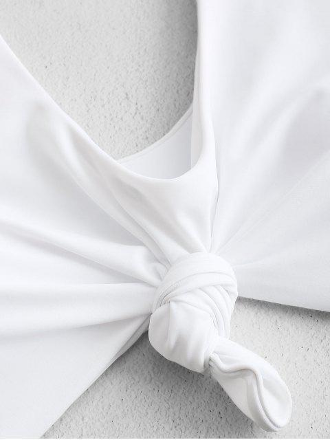 ZAFUL Высокий вырез Контрастные цветы С бантом Принт листа Купальник - Средний морской зеленый XL Mobile
