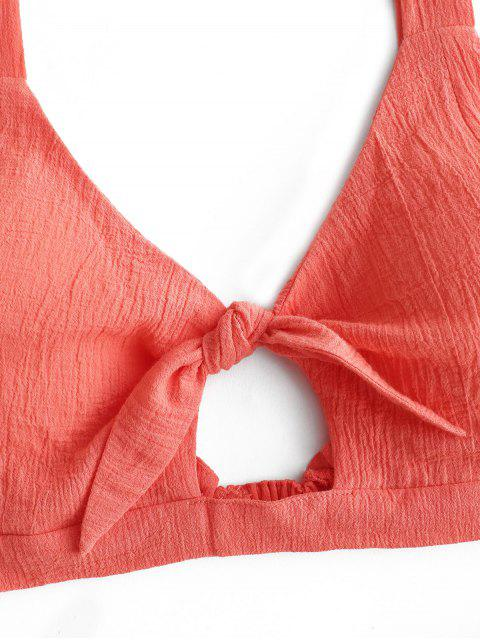 Crop Top und Hose- Set mit Ausschnitt - Kürbis Orange XL Mobile
