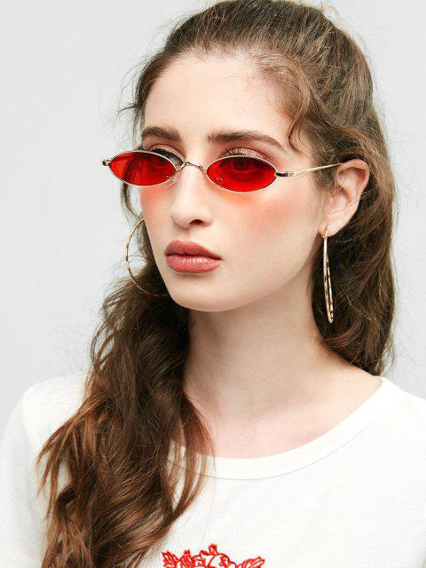 fancy Unique Metal Full Frame Oval Sunglasses - DEEP RED  Mobile