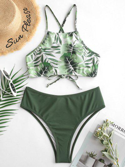 ZAFUL High Cut Leaf Cross Back Tankini Swimsuit - Camouflage Green S