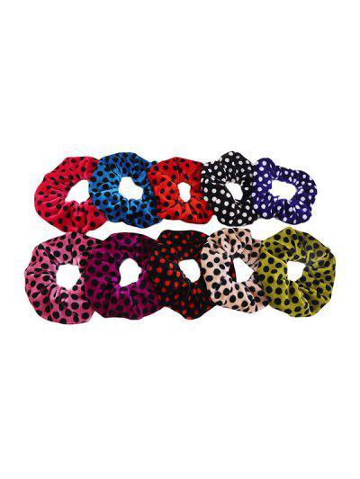 Image of 10Pcs Velvet Dot Scrunchies Set