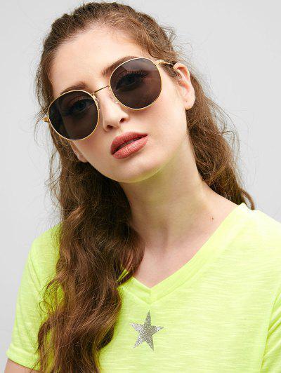 Retro Metal Frame Round Sunglasses - Black
