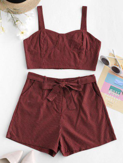 ZAFUL Stripes Top And Belted Shorts Set