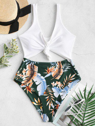 ZAFUL High Cut Contrast Knotted Leaf Swimsuit - Medium Sea Green M
