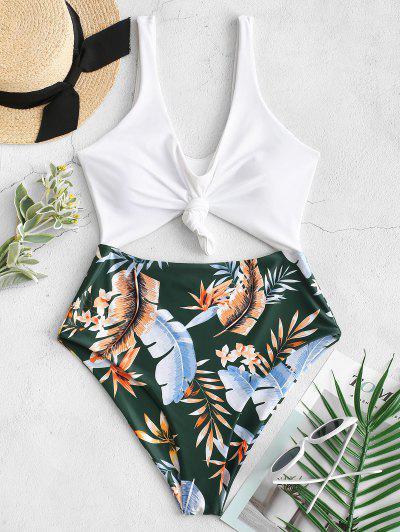 ZAFUL High Cut Contrast Knotted Leaf Swimsuit - Medium Sea Green L