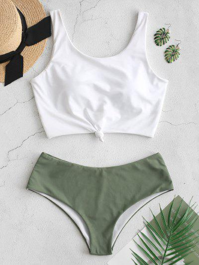 ZAFUL Knotted Color Block Tankini Set - Dark Sea Green L